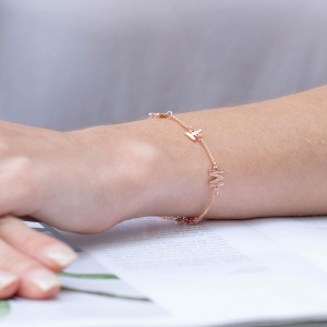 Personalized Sterling Silver Initial/Name Bracelet in Rose Gold